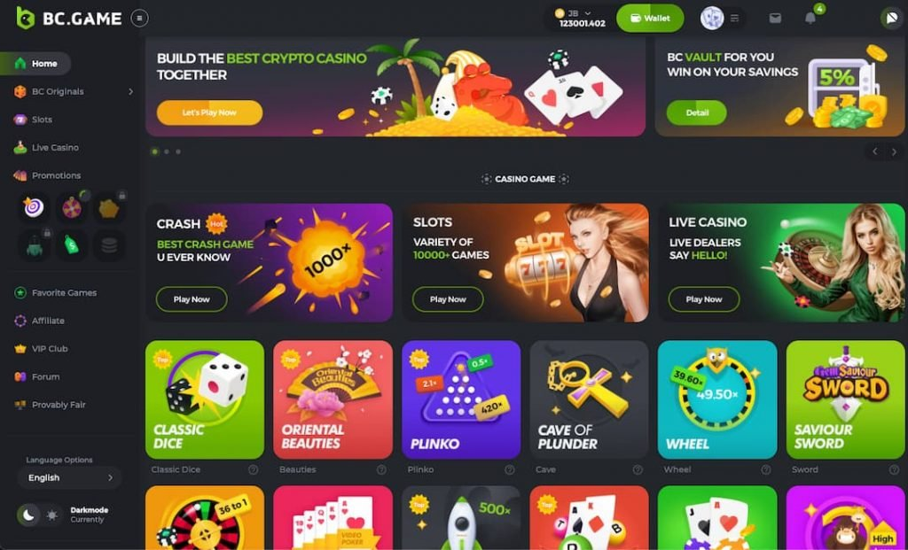 BCgame casino with the new version homepage and theme