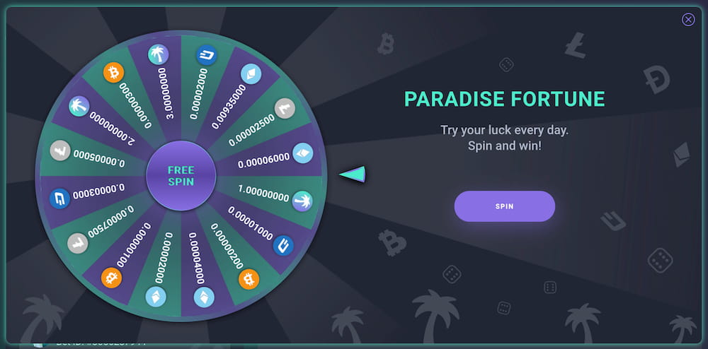Lucky spin available at Paradice.in casino