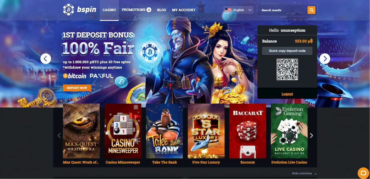 Bspin Casino Homepage screenshot