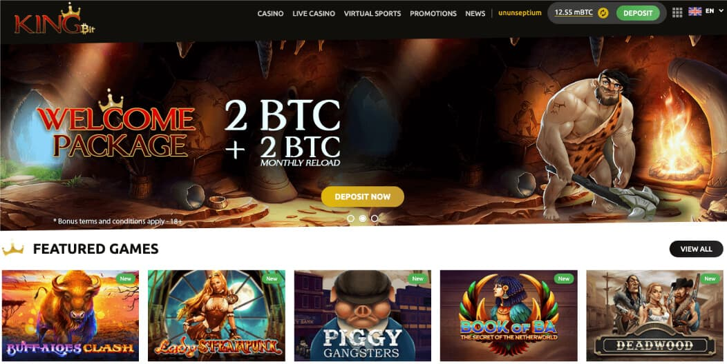 screenshot kingbit casino homepage