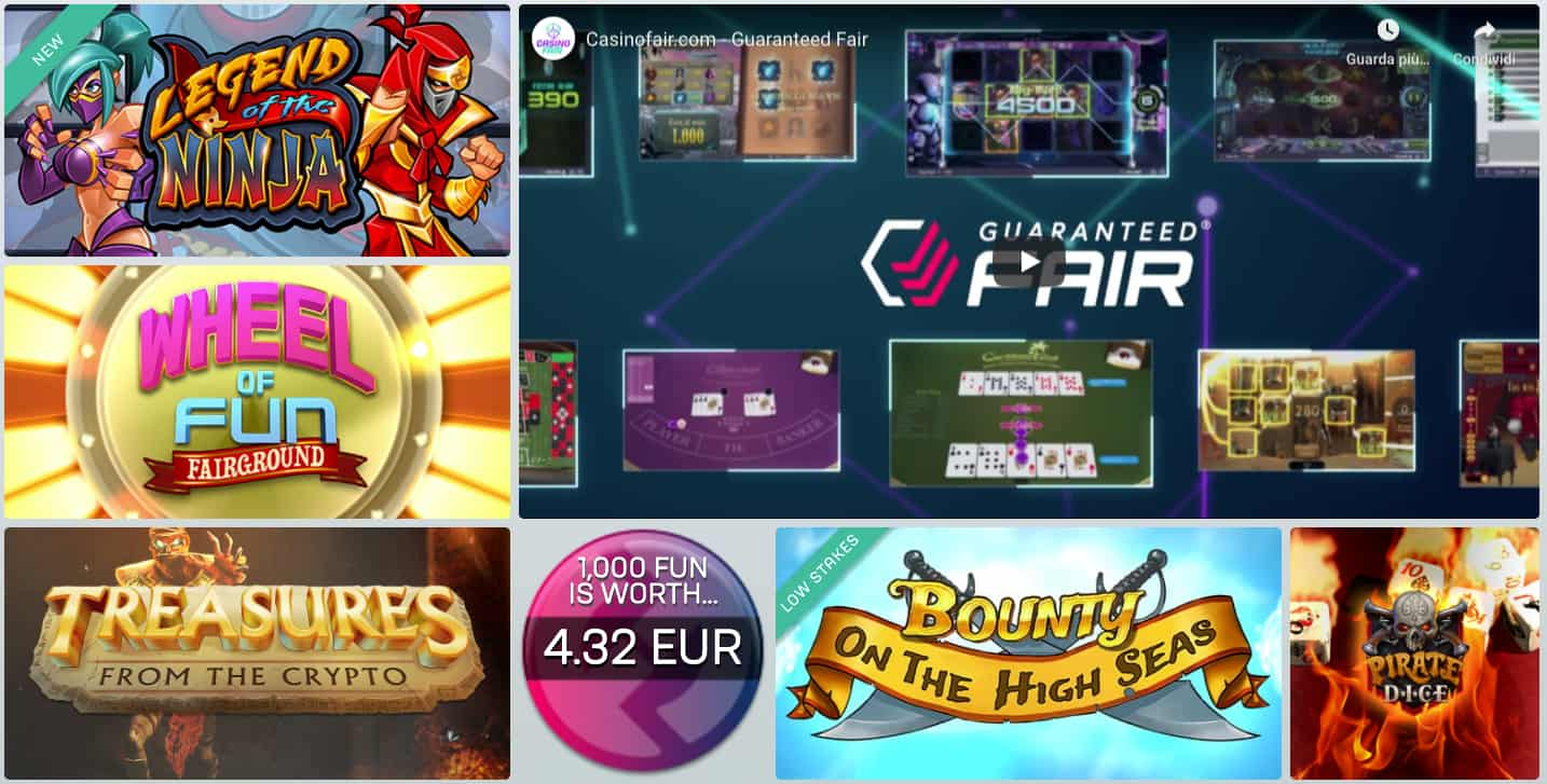 Casinofair homepage screenshot unique games