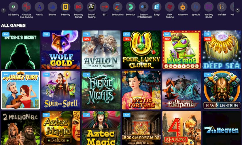 Screenshot BitcoinCasino.io Games
