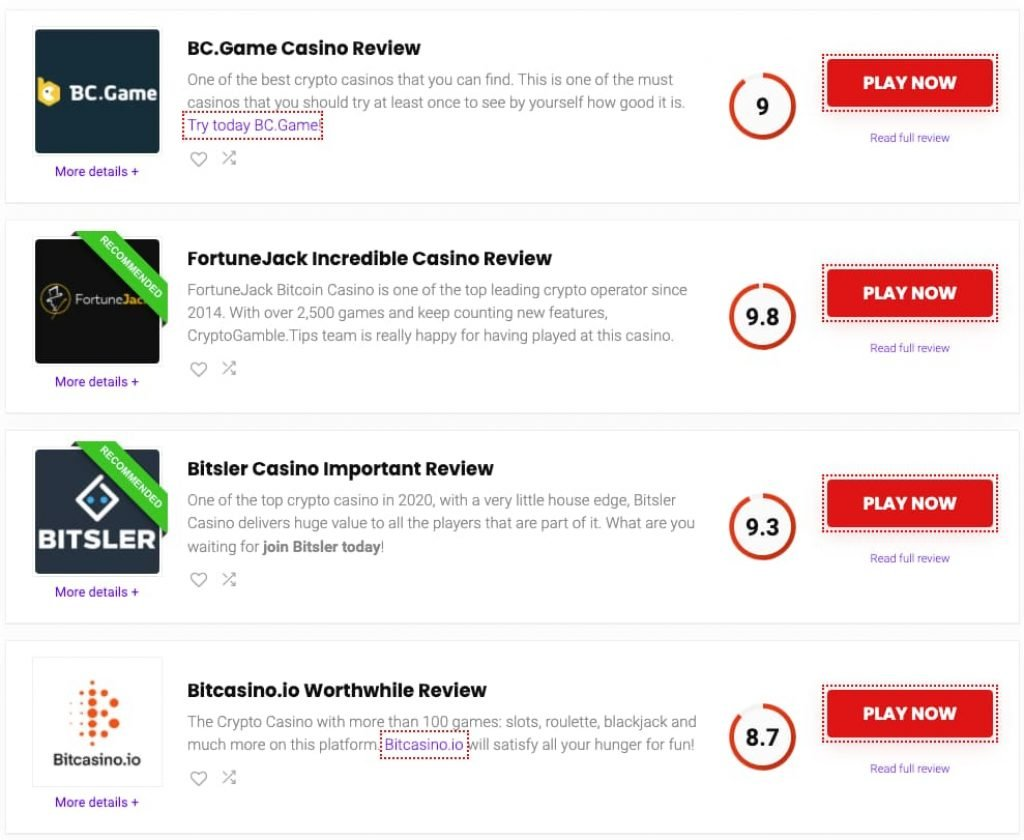 Screenshot Homepage casinos on CryptoGamble.tips
