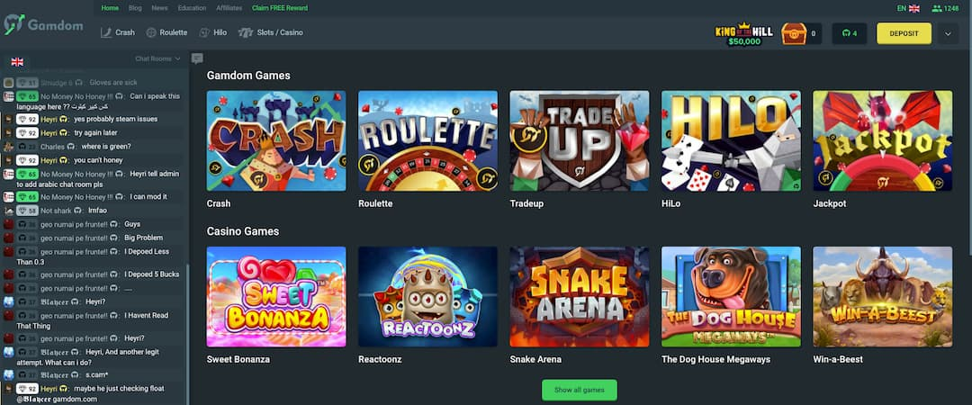 HomePage screenshot Gamdom Casino