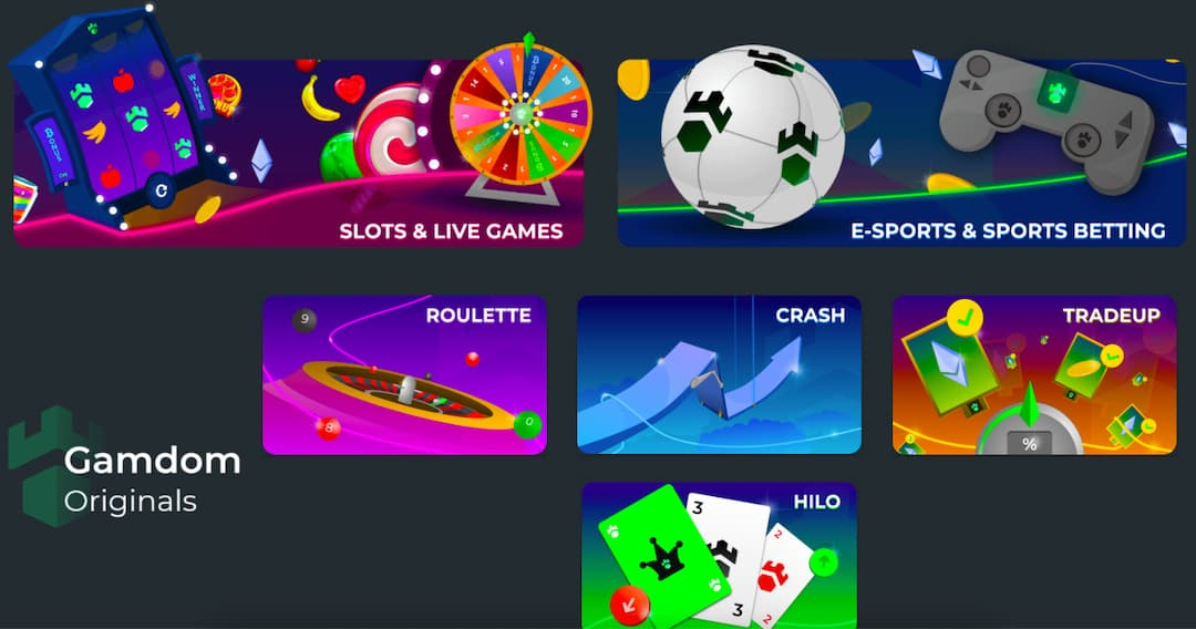 Screenshot of Gamdom casino home page with casino and sportsbook sections