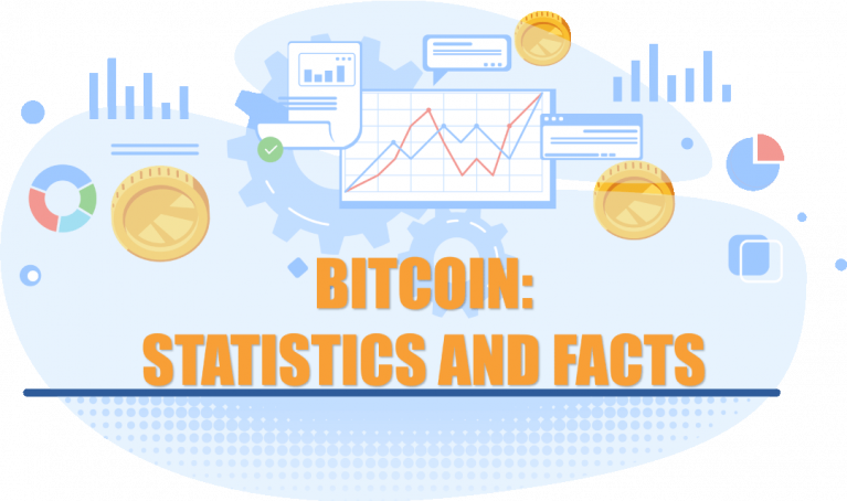 cover with text bitcoin statistics and facts with charts and coins on the background