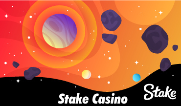 Stake casino Banner with space background