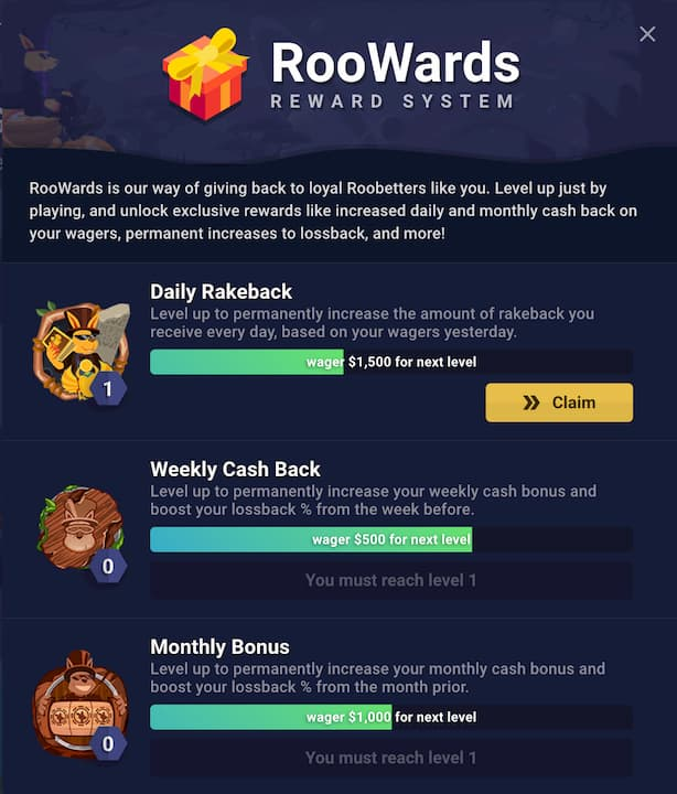 RooWards Reward System at Roobet Casino