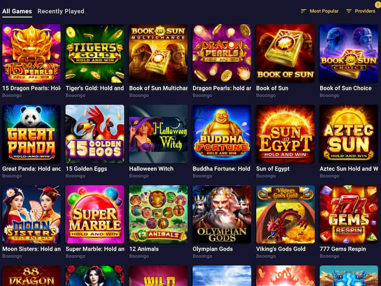Screenshot Slot machines list on Roobet Casino