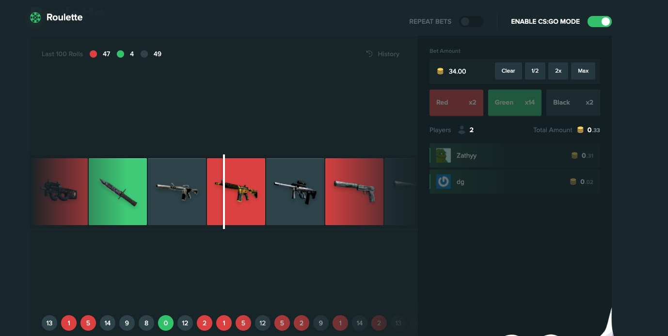 Screenshot of roulette game on Duelbits