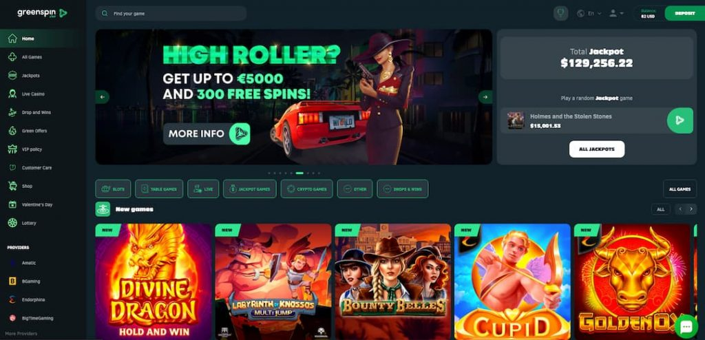 Greenspin homepage screenshot with slot machines cover