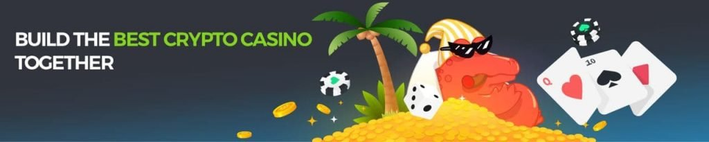 """bc game banner with text """"build the best crypto casino together"""" and a crocodile with lots of coins"""