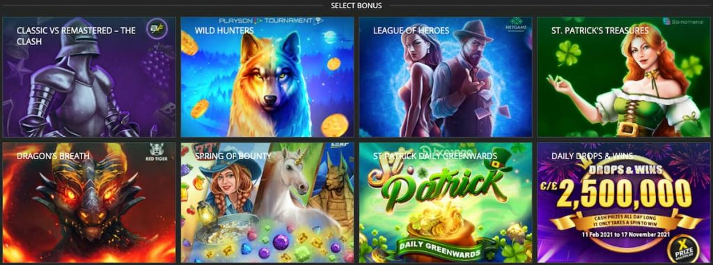 Betwinner list of casino bonuses with images from slot machines