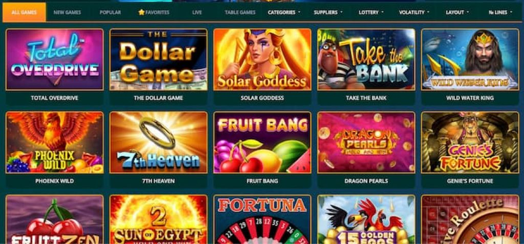Casino Alpha homepage with their games selection list of slot machines