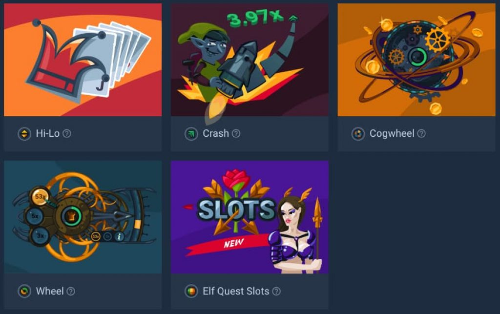 list of crypto games at Tower Bet casino and their game thumbnail