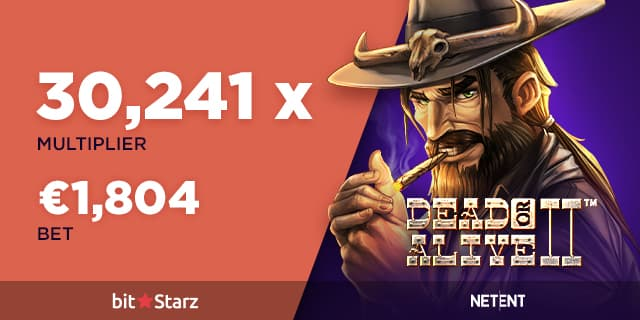 Dead or Alive 2 image of the cowboy smoking with a magnificent multiplier of x30241 from a casino player at bitstarz casino