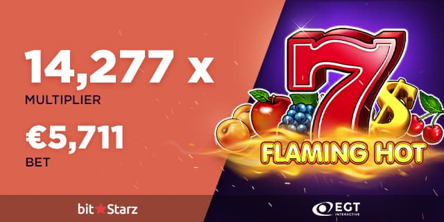Flaming Hot image from the slot machine with a huge win of 5711€ from a casino player at bitstarz