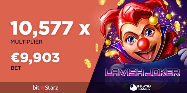 Lavish Joker game icon with multiplier and big win from a casino player on Bitstarz