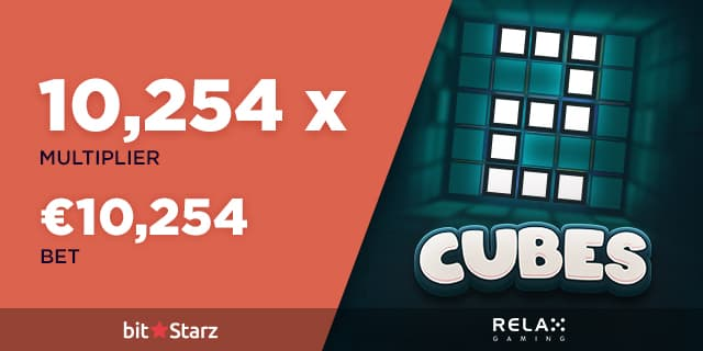 Cubes 2 image logo from the slot machine with a x10254 multiplier and a 10254€ won at Bitstarz by a casino player