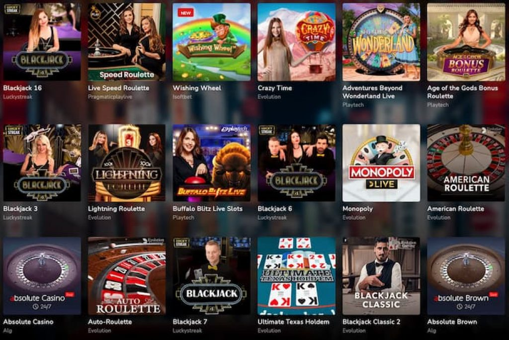 Live casino games selection at oshi casino with roulette live, blackjack live, monopoly live and more