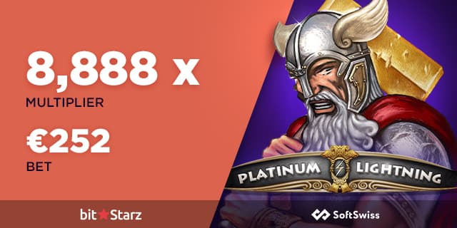 Platinum Lighting slot machine with multiplier and winning from a player