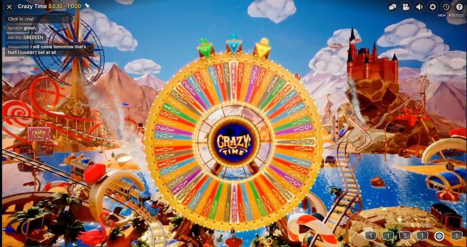 Crazy Time wheel with all the multipliers
