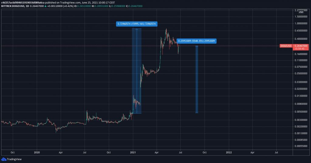 Dogecoin Price chart in 2021