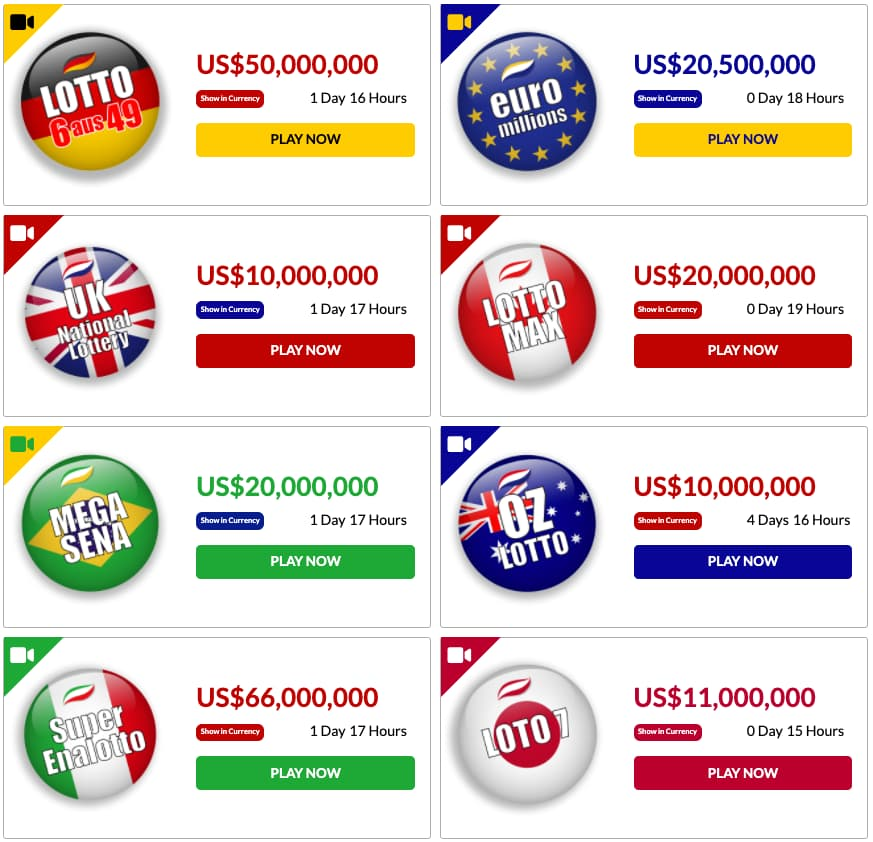 Bitcoin Lotto in Germany, Euromillions, Canada, Brasil, Italy, Japan, UK and australia