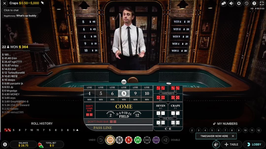 smiling Dealer live craps and green betting table