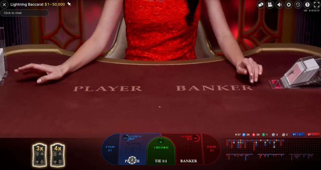 Lightning baccarat table with woman in red presenting