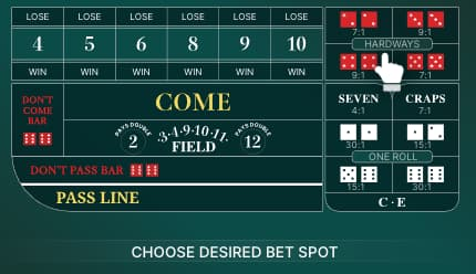 Live Craps betting table