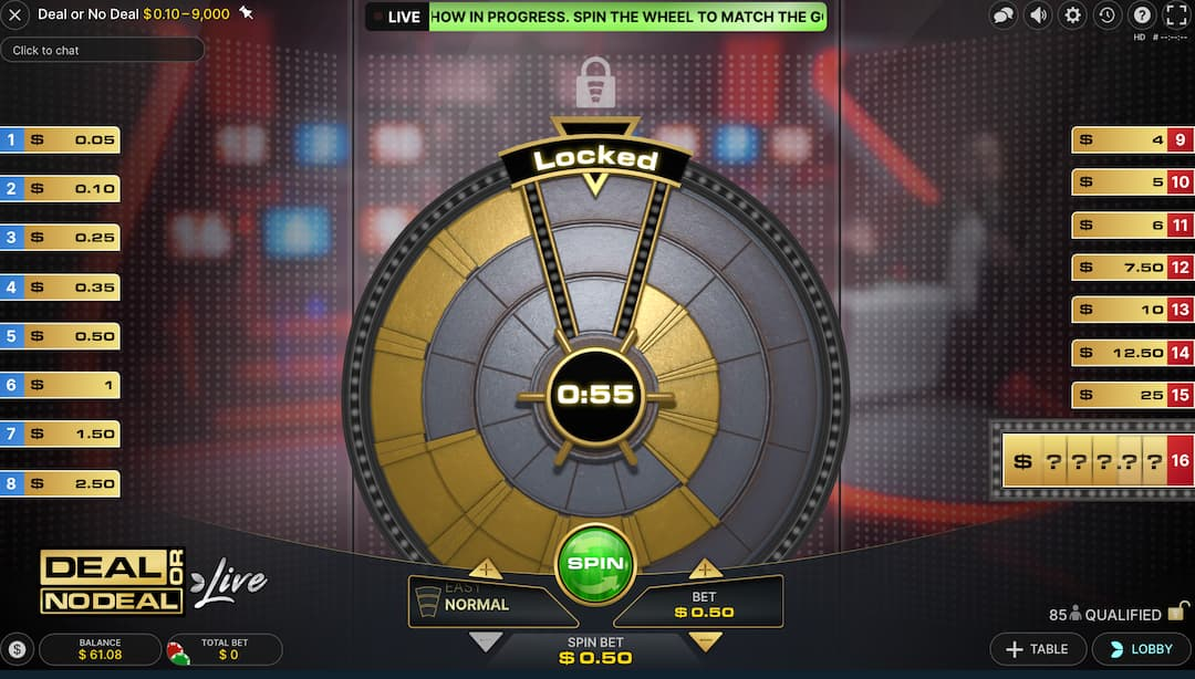 Qualification round deal or no deal