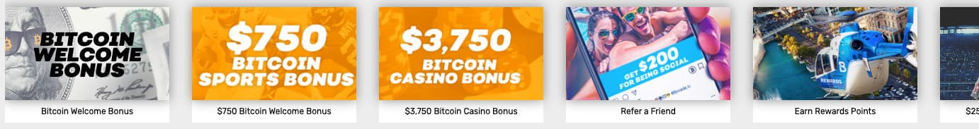 screenshot of the bitcoin promotions from bovada casino