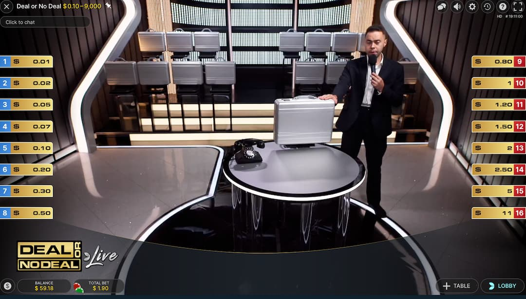 live dealer with briefcases at deal or no deal casino game