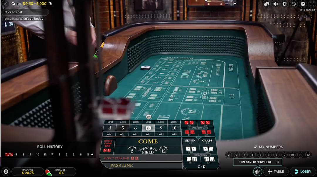 Live Craps Green Table