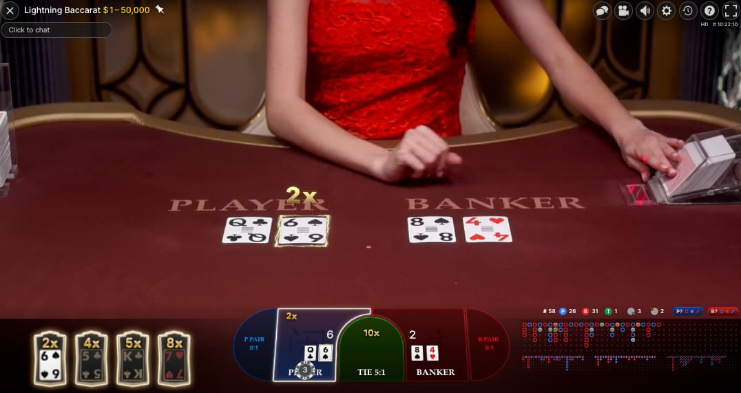 table with 4 cards on lightning baccarat