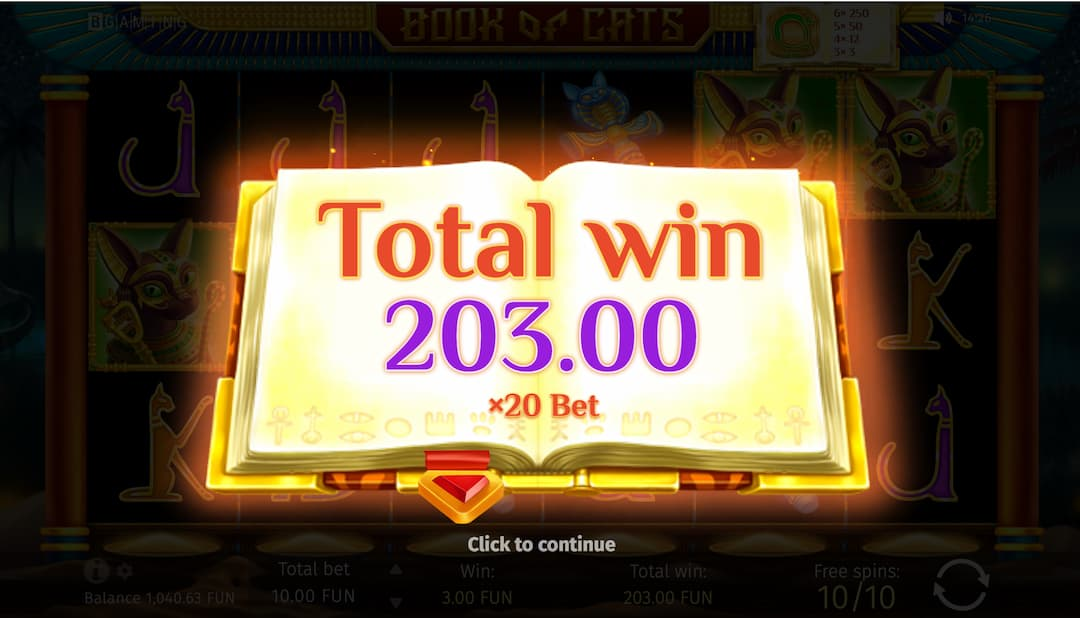203 big win on book of cats slot