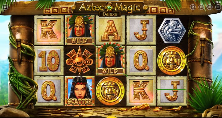 winning a spin on Aztec Magic Deluxe slot machine