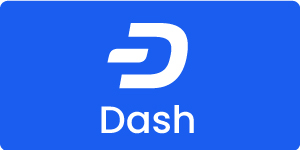 dash logo with a blue background